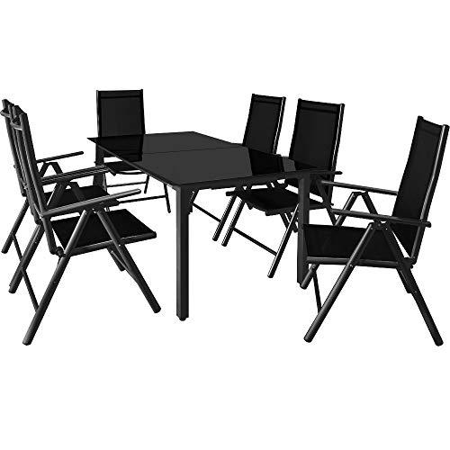 Deuba Sitzgruppe Bern 6+1 Aluminium 7-Fach verstellbare Hochlehner Stühle Tisch mit Sicherheitsglas Anthrazit Garten Set