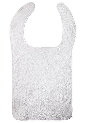 Clinotest Lätzchen für Erwachsene/Essensschutz/Frotteelätzchen/Kleiderschutz, in der Farbe weiß, unbeschichtet, 100% Baumwolle
