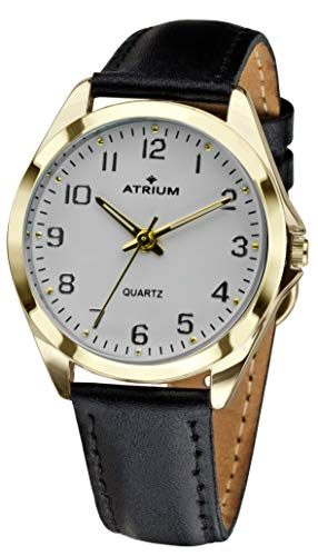 ATRIUM Damen-Armbanduhr sehr deutlich goldfarben Quarz 3 Bar Lederband A11-20