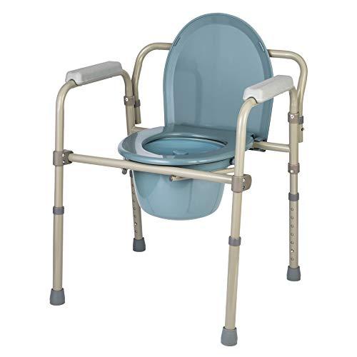 CO-Z Toilettensitz Toilettenstuhl Höhenverstellbar Faltbar WC Sitz WC-Stuhl Nachtstuhl Tragbarer Klappstuhl mit eingebauter Toilette bis zu 140 kg