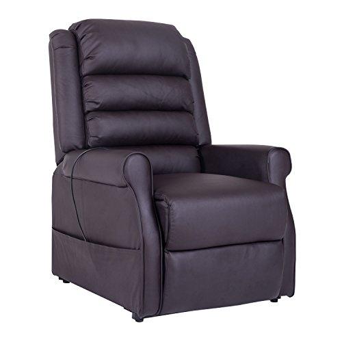HOMCOM Massagesessel Aufstehsessel Elektrischer Relaxsessel Fernsehsessel mit Wärmefunktion Liegefunktion Aufstehhilfe PU Braun 88 x 83 x 110 cm