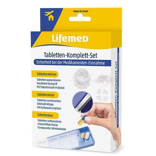 Lifemed 3 in 1 Set Tablettenmörser + Tablettenteiler + Tablettenbox