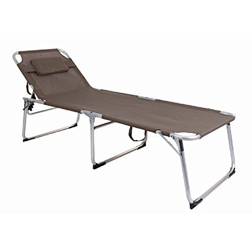 Mojawo XXL Gartenliege Sonnenliege Relaxliege Liege Aluminium mit Kissen gepolstert klappbar Taupe L200xB70xH45/95cm
