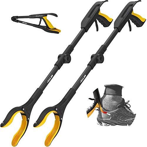 Jellas 2 Stück Faltbare Greifer mit Schuhlöffel, 0°- 180° abgewinkelter Arm, 80cm Langer Greif-Werkzeug mit Magnetspitzen für die Müllabfuhr, Abfallsammlung, Armverlängerung, RGDF01 (gelb)