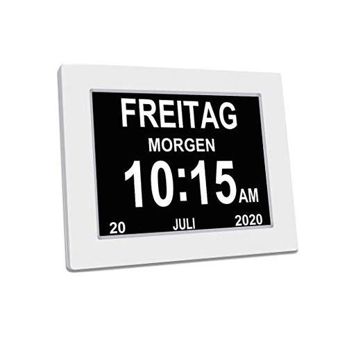 YAXING/DC801/Seniorenuhr 8 Zoll. Digitale Kalender und Seniorenuhr Foto-Funktion - Digitale Uhr, Wecker, Kalender für Senioren & Demenzkranke (z.B. Alzheimer) mit Erinnerungsfunktion (Weiß.)