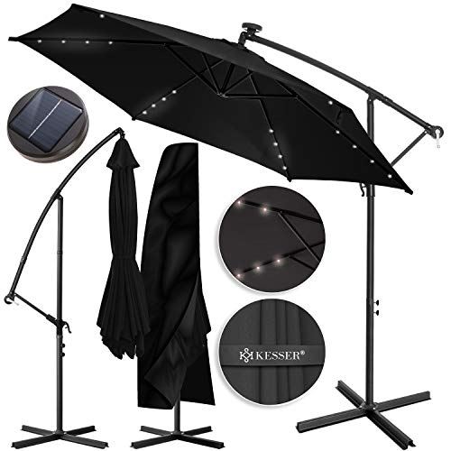 KESSER® Alu Ampelschirm LED Solar Ø350cm + Abdeckung mit Kurbelvorrichtung UV-Schutz Aluminium mit An-/Ausschalter Wasserabweisend - Sonnenschirm Schirm Gartenschirm Marktschirm Anthrazit