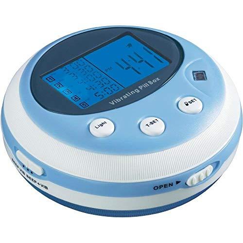 PROFI vibrierende Pillenbox mit Piepton und Vibration Alarm Medikamentenbox Pillendose Wecker Uhr (5 Alarmzeiten/Tag) Tablettendose Tablettenbox Tabletten Einnahme Erinnerung