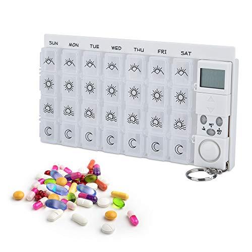 AMAZOM 7 Tage Digitale Pillendose Mit Alarm,Tablettenbox Mit 28 Fächern Pillendose Mit Wecker Alarmfunktion, Tragbar 7 Fächer Pillenbox Medikamentenbox Mit Schutzhülle(Blau),Weiß