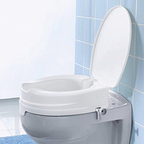 Dietz Reha Produkte Sitzerhöhung mit Deckel, Toilettenaufsatz mit Intimausschnitt, Toilettensitzerhöhung WC-Aufsatz, 10 cm hoch
