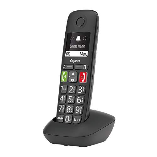 Gigaset E290 - Schnurloses Senioren-Telefon ohne Anrufbeantworter mit großen Tasten - großes Display, Zielwahltasten für wichtige Nummern, Verstärker-Funktion für extra lautes Hören, schwarz