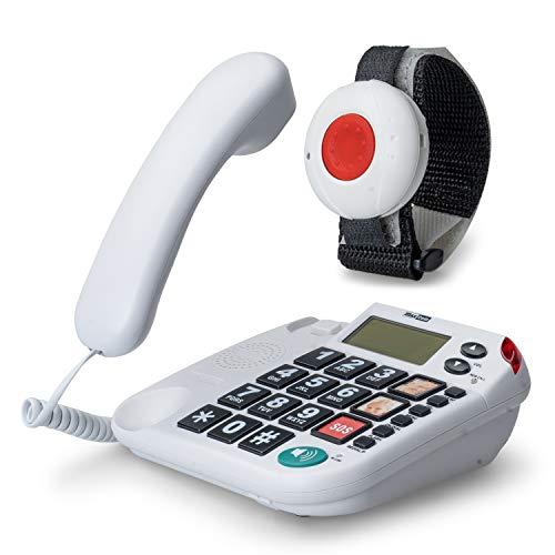 MaxCom KX481SOS: Hausnotruf Telefon mit Notrufarmband; schnurgebundenes Festnetztelefon mit Notrufknopf und Notruf Armband; Notruftelefon für Senioren; Seniorentelefon