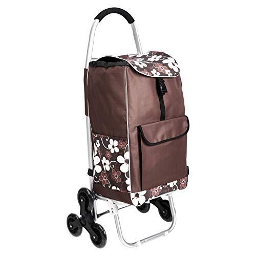 AmazonBasics – Einkaufstrolley mit 6 Rollen und Aluminium-Griffen, 50 l, braune Blumen