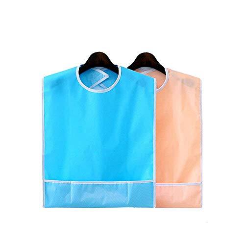 2 stücke wasserdichte erwachsene lätzchen wiederverwendbare mahlzeit schutz waschbare kleidung verschütten behinderung hilfe schürze (sky blue + orange pink)