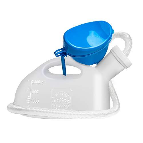 OOCOME Urinflaschen für Männer und Frauen, Unisex Urinflasche Tragbare Reise Urinal Flaschen Auslaufsicher 2000ml Camping Toiletten für Erwachsene (weiß)