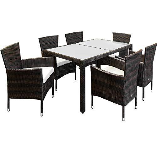 Deuba Poly Rattan Sitzgruppe 6 Stapelbare Stühle Gartentisch 7cm Sitzauflagen Gartenmöbel Sitzgarnitur Garten Set Braun