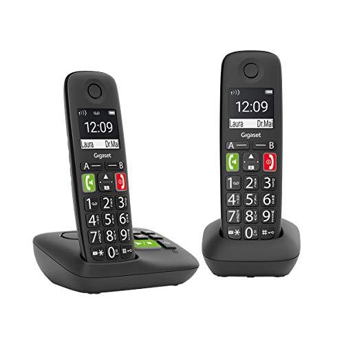 Gigaset E290A Duo 2 schnurlose-/ DECT -/ Analoge Telefone (mit Anrufbeantworter, Telefone mit großen Tasten und großem Display) schwarz