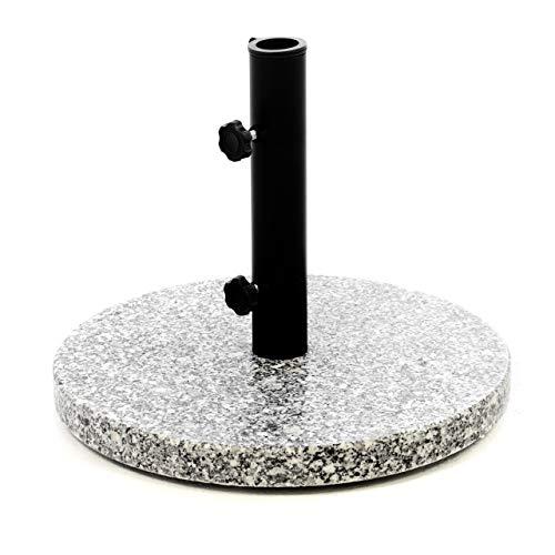 Nexos Sonnenschirmständer Granit grau 40cm rund Schirmständer Edelstahlrohr mit Feststellschrauben und 3 Standfüße Kunststoffringe 10 kg