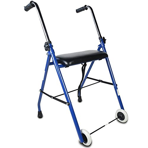 Mobiclinic, Emérita, Europäische Marke, Gehwagen für Senioren, für behinderte menschen, Gehhilfe, Stahl, Faltbar und Leichtgewicht, mit gepolstertem Sitz, einstellbare Höhe, Blau