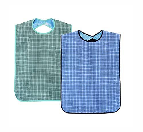 Wasserdicht Erwachsenen Lätzchen 2er Set- Waschbar Wiederverwendbare Mealtime Lätzchen Kleiderschutz mit Krümelfach und Klettverschluss für ältere Männer Frauen Senioren(Kein Krümelfach(Gitter))