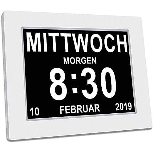 SINOIDEAS - Seniorenuhr 8 Zoll. Digitale Kalender und Seniorenuhr - Digitale Uhr, Wecker, Kalender für Senioren & Demenzkranke (z.B. Alzheimer) mit Erinnerungsfunktion(Weiß)