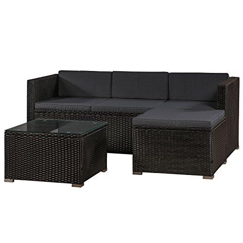 ArtLife Polyrattan Lounge Punta Cana M schwarz – Gartenlounge Set für 3-4 Personen – Gartenmöbel-Set mit Sofa, Tisch und Hocker - Sitzbezüge in Dunkelgrau