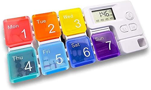 Tablettenbox 7 Tage Mit Alarm Digitaler Regenbogen Pillendose Tragbare Elektronische Intelligente Pillenbox Mit 4 Gruppen Von Alarm Erinnerungen Zur Täglichen Medikamenteneinnahme