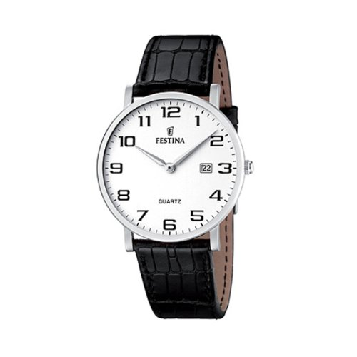 Festina Herren Analog Quarz Uhr mit Leder Armband F16476/1