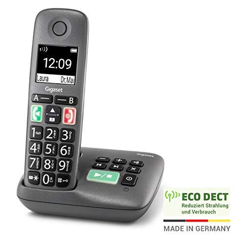Gigaset Easy mit Anrufbeantworter – Schnurloses Senioren-Telefon mit großen Tasten und extra lauter Klingelfunktion – hörgerätekompatibel, anthrazit-grau