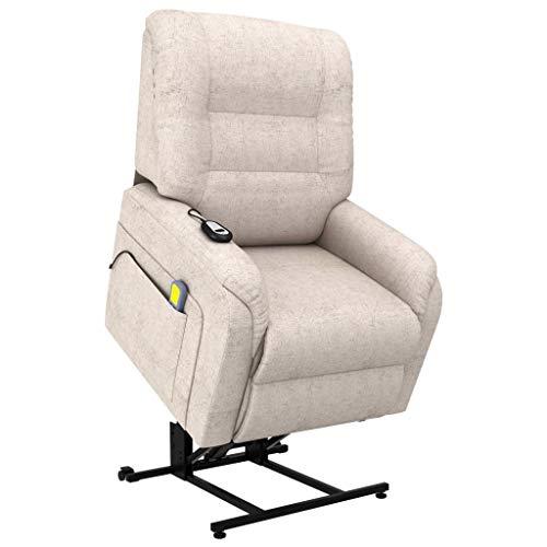 vidaXL Fernsehsessel Elektrisch mit Aufstehhilfe Taillenheizfunktion Massagesessel Aufstehsessel Relaxsessel TV Sessel Creme Stoff