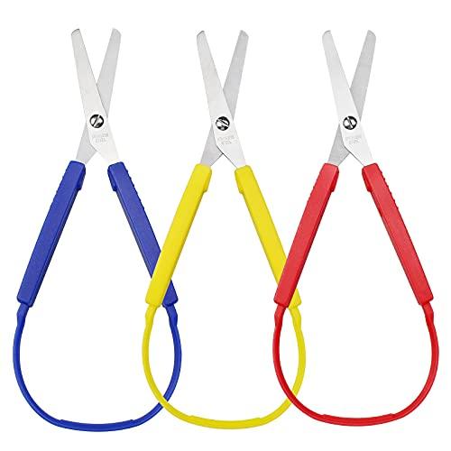 Mobci 3 Stück Schlaufenschere Selbstöffnende Schere Bunte Schlaufenschere für Jugendliche und Erwachsene und Besondere Bedürfnisse, 3 Farben