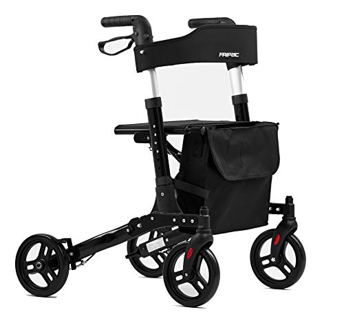 FRIPAC Rollator faltbar und leicht | Outdoor und Indoorgeeignet | Leichtgewicht-Rollator aus Aluminium | 6-fach höhenverstellbar, 3-fach klappbar mit Sitz | Vollausstattung