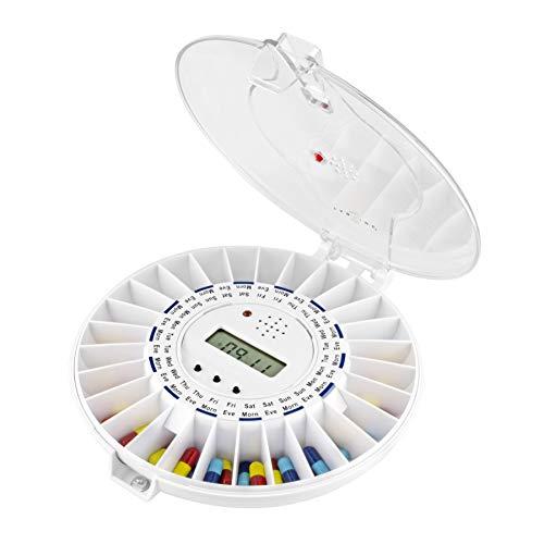 TabTime (mit deutscher Anleitung) automatischer Tabletten-/Pillenspender mit Erinnerung, transparenter Deckel, verschließbar mit Zeitschaltung, ideal für Alzheimer- und Demenzpatienten, mit Schablonen auf deutsch