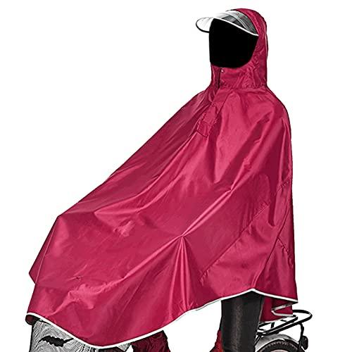 sorliva Regenponcho für Camping Fahrrad Regenmantel Regenschutz mit Kapuze, Poncho-Rot