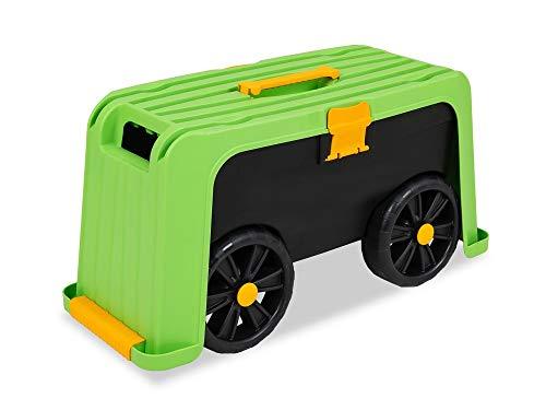 Garden Point Garten-Rollsitz 3-in-1   Fahrbarer Gartenhocker Rollen und Kniestuhl mit Rollen und Aufbewahrung bis zu 100 kg   Erleichtert die Arbeit im Garten, zu Hause, Werkstatt*
