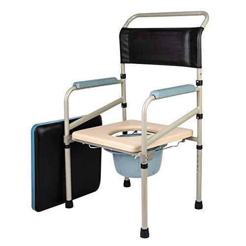 CO-Z Toilettenstuhl Höhenverstellbarer Toilettensitz WC Sitz mit Rutschfeste Gummifüße Nachtstuhl WC-Stuhl Klappbarer Stuhl mit eingebauter Toilette bis 150 kg