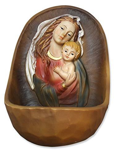 Weihwasserkessel Maria mit Jesu-Kind handbemalt 12 cm Mutter Gottes Weihbecken