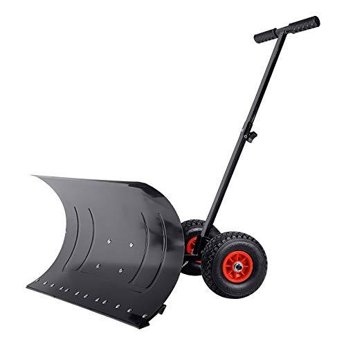 Schneeschaufel mit Rädern Schneeschild Höhenverstellbar 5-fach Schneeschieber mit extra-breiten Kunststoffblatt von 74 cm, Schneeräumer Reifendurchmesser 25cm