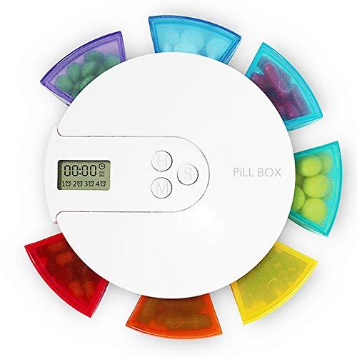 Tablettenbox 7 Tage Mit Alarm, Digitaler Regenbogen Pillendose, Tragbare Elektronische Intelligente Pillenbox, Mit 4 Gruppen Von Alarm-Erinnerungen Zur Täglichen Medikamenteneinnahme