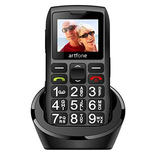 artfone C1+ Seniorenhandy ohne Vertrag   Dual SIM Handy mit Notruftaste   Rentner Handy große Tasten   1400 mAh Akku Lange Standby-Zeit   Großtastenhandy mit Ladestation   1,77 Zoll Farbdisplay