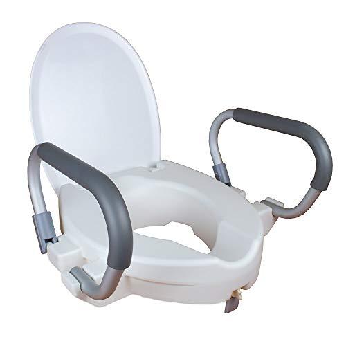 Mobiclinic, Toilettensitzerhöhung mit Armlehnen und Deckel, Alcalá, Europäische Marke, Verstellbare Armlehne, WC Sitzerhöhung für Senioren, Toilettenhilfe, Weiß