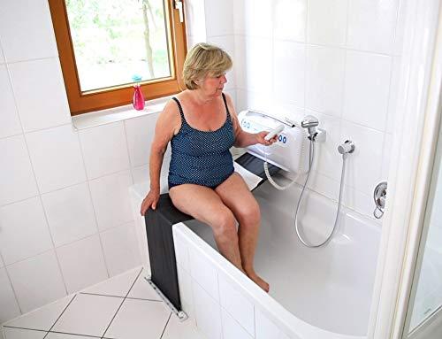 Melchers Einstiegshilfe Badewanne/Badewannentuchlifter für Senioren Wannenlift/Lift, weiß, gehäuse: ca. 56 x 30 x 11 cm (l x b x t) elektrischer Duschhocker/Duschstuhl/Badewannenlift
