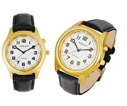 Lederband Damen Sprechende Armbanduhr GOLDENE Uhr Senioren Blindenuhr Zeitansage
