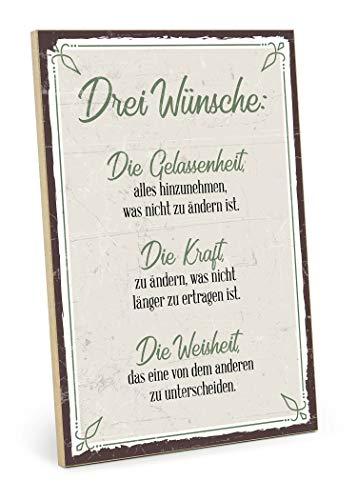 TypeStoff Holzschild mit Spruch – DREI WÜNSCHE – im Vintage-Look mit Zitat als Geschenk und Dekoration zum Thema Gelassenheit, Kraft und Weisheit (19,5 x 28,2 cm)