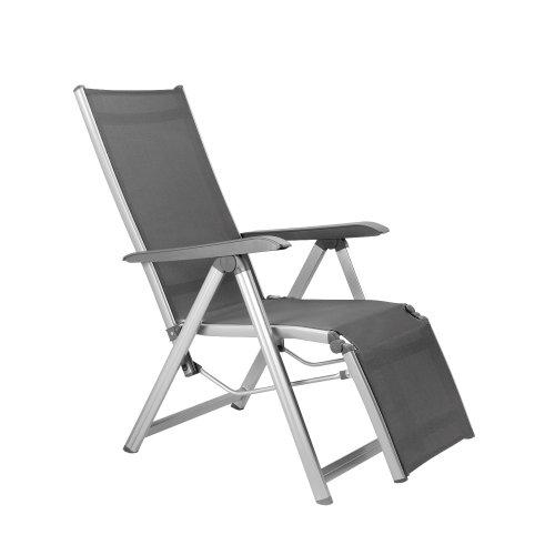 Kettler Basic Plus Advantage Relaxliege Aluminium - praktische Klappliege - Liegestuhl verstellbar & leicht zusammenklappbar - wetterfeste Gartenmöbel - silber/anthrazit*