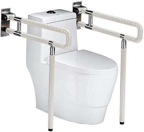 RANZIX klappbare WC Aufstehhilfe - Stützgriff Sicherheits Haltegriff Stützklappgriff behindertengerecht Toiletten Stütz-Haltegriff hochklappbar robust & solide verarbeitet (Weiß, 750MM)