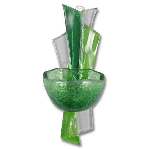 kruzifix24 Devotionalien Glas Weihkessel Weihwasserkessel grün Modern 15 x 6 x 6 cm Glasweihkessel Wandschmuck Handarbeit Unikat