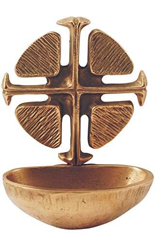 Motivationsgeschenke Weihwasserkessel Kreuz Bronze 11 cm Weihwasserbecken für Zuhause