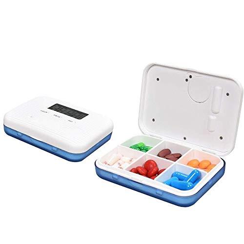 Contever Digitale Pillendose Wecker Pillenbox Timer Alarm Pillen Elektronische Pillenbox Pillentimer, Tragbar Tablettenbox mit 6 Fächer Lagerung Für Reisen Outdoor Aufbewahruung, Blau