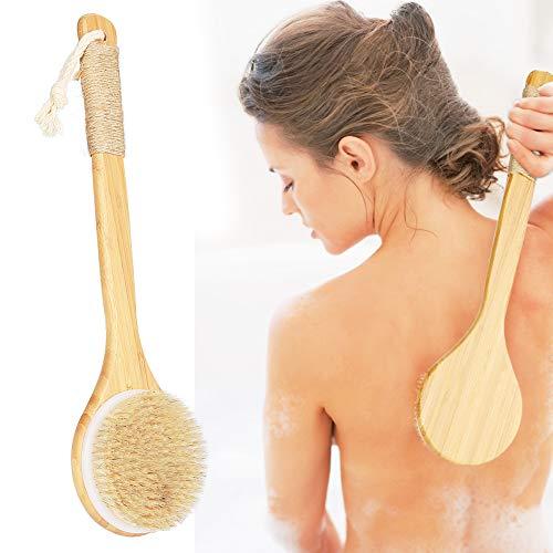 Rückenbürste, Badebürsten, HOSPAOP Körperbürste mit Stiel, Duschbürste für Peeling und Massage, Trockenbürste mit langem stiel,Bambus Naturborsten Peeling Massage Verbessern die Durchblutung