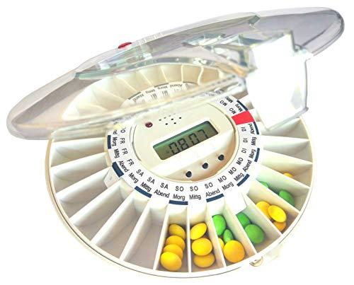 DEUTSCHSPRACHIGE automatische Pillendose DoseControl mit deutschen Dosierungsringen, Modell 2020 mit transparentem Deckel, Deutscher Service für Wartung und Ersatzteile